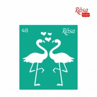 Rosa stencil 09*10 cm No.48 Love flamingos