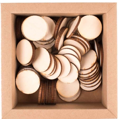 Plywood Discs : Circles : Diameter 30 mm : Box with 100