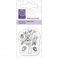 KPC stamp clear 2051, Tree with birds, 1.4 x 4.6 cm