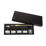 calligraphy set with glass nib holder and 4 inks