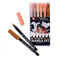 Sakura Koi Brush Pen Manga Coloured Ring Set of 6 Brush Pen flesh tones