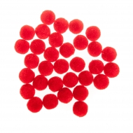 Soft Merino Wool Pompoms 20 mm : Box of 60 : Mixed : Red