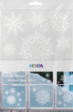 Heyda : Christmas Window Clings : Snowflakes : White