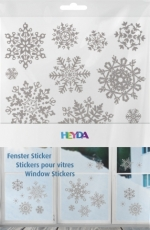 Heyda : Christmas Window Clings : Snowflakes : Silver