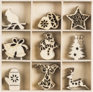 Box with 45 Wooden Christmas Embellishments : Collection 1