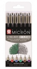 Sakura Pigma Micron set of 6 Basic colours 01