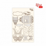 Rosa Chipboard Scrapbook Embellishments 12.6 x 20 cm - Butterflies and Bird Cages