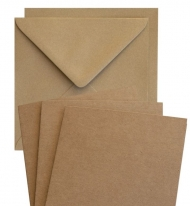 10 pcs Square Folded Cards with Envelopes - Kraft