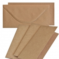 10 pcs DL Folded Cards with Envelopes - Kraft
