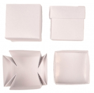 Set of 12 White Pearlescent Boxes 40x40x40 mm Mist