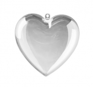 Fillable Clear Acrylic Heart 80 mm