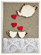 Handmade Valentine's Day Card - Tea for Two