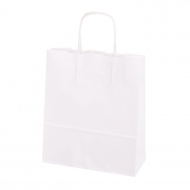 Pack of 25 White Paper Carrier Bags 25.5+8/33