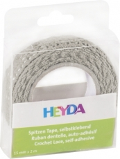 Heyda : Cotton Lace Tape : 15 mm x 2 m : Grey