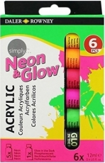 Acrylic Paint Set Daler Rowney Simply Neon 6 Colours x 12 Ml