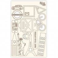 Rosa Chipboard Scrapbook Embellishments 12.6 x 20 cm - Travel Icons
