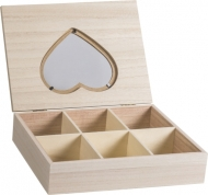 Wooden Box with Heart Shaped Glass Lid : 18 x 24 x 5.7 cm