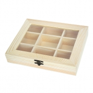 Wooden Box with Glass Lid : 22 x 17.7 x 4 cm