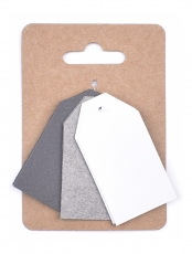 Murano Paper Tags 3 x 4 cm, 3 colours x 4 pcs - Greys