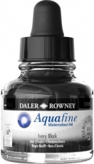 Black Watercolour Ink Daler-Rowney Aquafine 29 ml - Ivory Black