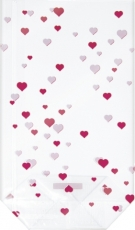 Heyda Clear Flat Bottom Pouch Hearts 115 x 190 mm : Pack of 10