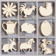 Box with 45 Wooden Scrapbook Embellishments - Farm