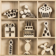 Box with 45 Wooden Scrapbook Embellishments - Happy Birthday