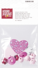 Pacifier Chain Decoration - Wooden Bead Mix Heart Rose/ Pink