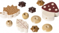 Pacifier Chain Decoration - Wooden Bead Mix Hedgehog Brown/Natural