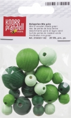 Pacifier Chain Decoration - Wooden Bead Mix 4 Round Grooved Beads Green