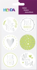 Stickers Happy Just Married Green