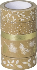 Set of 5 Christmas Deco Tapes : Heyda : Nature : Gold/White