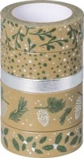 Set of 5 Christmas Deco Tapes : Heyda : Nature : Green/Silver