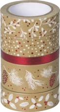 Set of 5 Christmas Deco Tapes : Heyda : Nature : Red/White