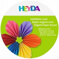Origami Paper Heyda 10 cm, 100 Sheets -  Plain Colours