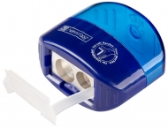 Sharpener with container for left hand