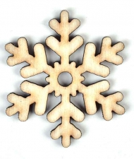 Wooden Scrapbook Embellishment : Pack of 6 : Snowflake : 45 mm