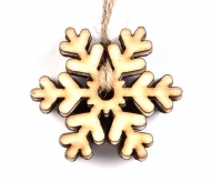 Wooden Scrapbook Embellishment : Pack of 6 : Snowflake : 90 mm