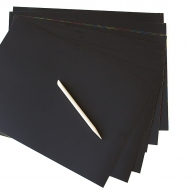 10 Sheets Black Scratch Art Paper - Magic Rainbow - with 1 Wooden Stylus