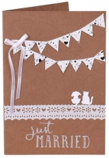 Handmade Wedding Greeting Card - Just Married (Cat and Dog)