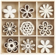 Box with 45 Wooden Scrapbook Embellishments - Fantasy Flowers