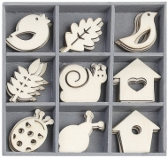 Box with 45 Wooden Scrapbook Embellishments - Snail/Bird House
