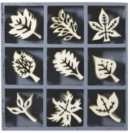 Box with 45 Wooden Scrapbook Embellishments - Leaves