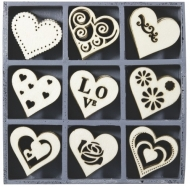 Box with 45 Wooden Scrapbook Embellishments - Hearts