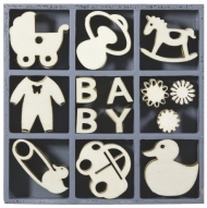 Box with 45 Wooden Scrapbook Embellishments - Baby