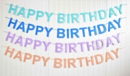 Brown Felt Birthday Banner Happy Birthday 16 cm height, 2.30 m lenght