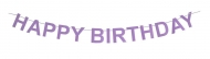 Lilac Felt Birthday Banner Happy Birthday 16 cm height, 2.30 m lenght