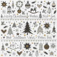 Christmas Paper Napkins : Stewo : 33 x 33 cm: Pack of 20 : Small Ornaments Border