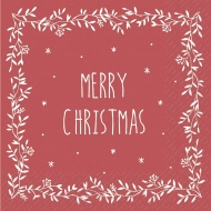 Christmas Paper Napkins : Stewo : 33 x 33 cm: Pack of 20 : Merry Christmas : Red