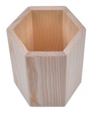 Hexagon Wooden Pencil Holder  8 x 8 x 10 cm